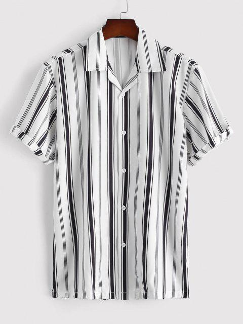 Balanced Stripe Kurzarm Kurzarm Hemd Kragenhemd - Weiß XXL Mobile