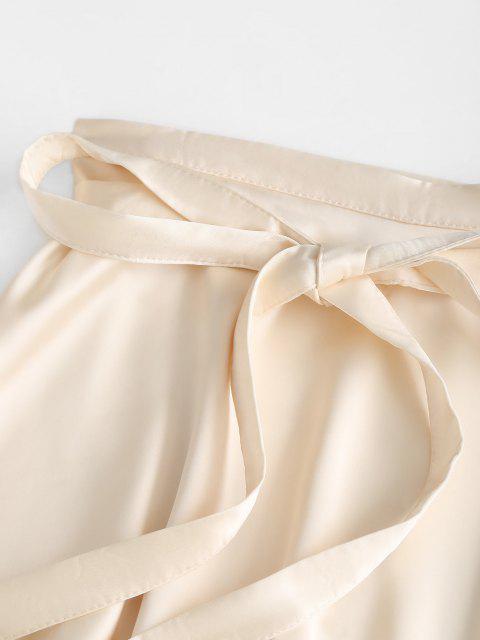 fashion Silky Satin Swing Wrap Mini Skirt - LIGHT YELLOW ONE SIZE Mobile