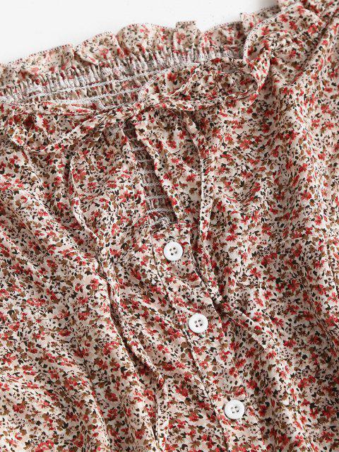 Krawatte Kragen Winzige Blumen Schulterfrei Minikleid - Multi S Mobile