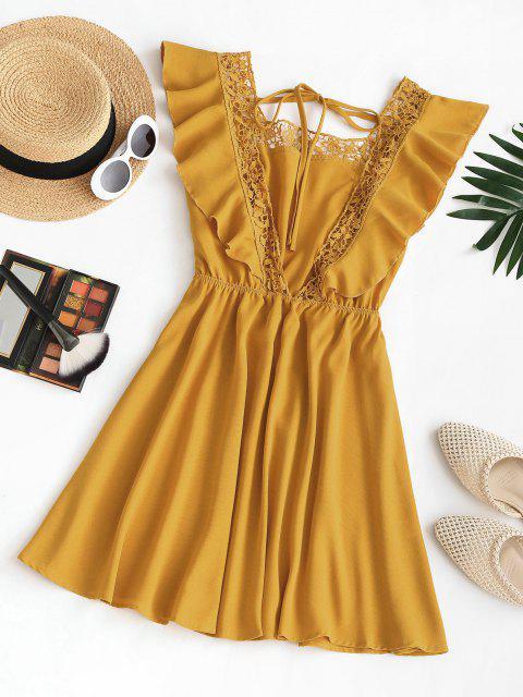 Quadrat Kragen Rüschen Guipure Spitze Besatz Offener Rücken Kleid - Gelb M Mobile