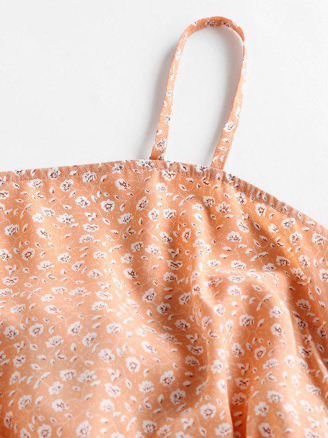 ZAFUL Ditsy Blumen Schleife Overlap Cami Sommerkleid - Hell orange S Mobile