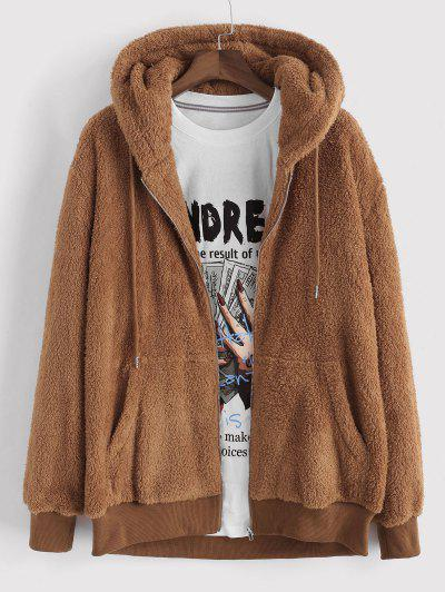 Hooded Faux Fur Fluffy Jacket - Coffee L