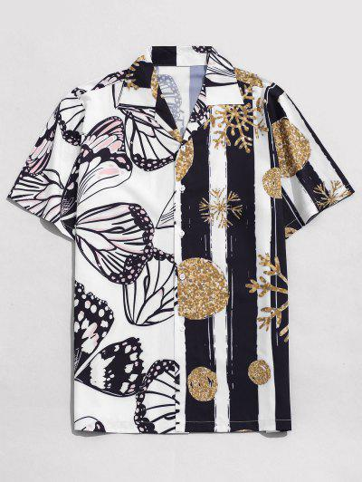 Snowflake And Butterfly Print Vacation Shirt - White M