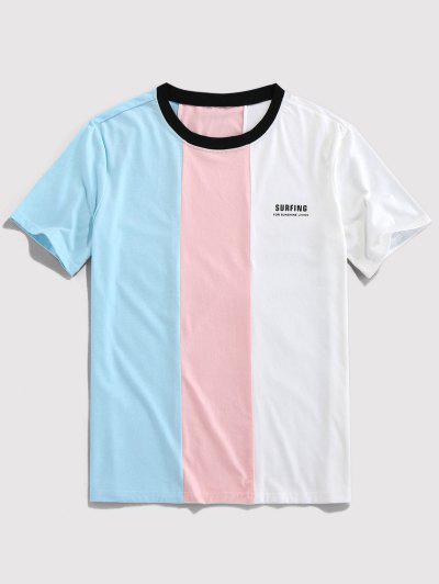 ZAFUL Letter Print Contrast Slogan T-shirt - Light Blue Xl