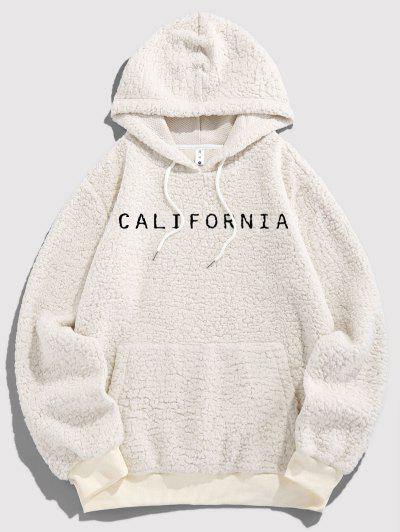 ZAFUL Letter Embroidered Faux Shearling Fluffy Hoodie - White 2xl
