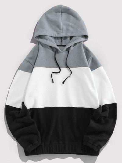 ZAFUL Drawstring Contrast Fleece Hoodie - Gray Cloud M