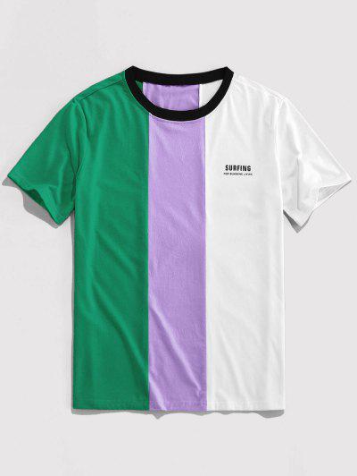 ZAFUL Letter Print Contrast Slogan T-shirt - Deep Green L