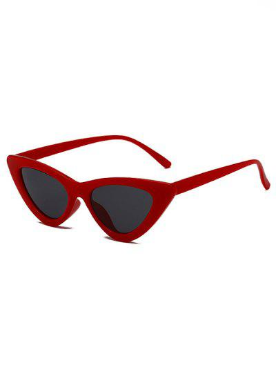 Retro Triangle Frame Slim Sunglasses - Red