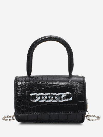 Chunky Chain Embellished Embossed Mini Crossbody Bag - Black