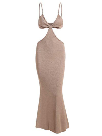 Spaghetti Strap Cutout Knit Maxi Mermaid Dress - Light Coffee M