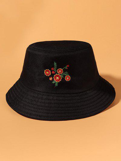 Floral Embroidered Sun Protection Casual Bucket Hat - Black