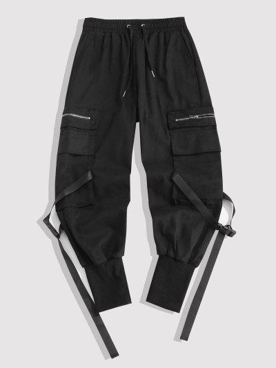 Multi-pocket Zipper Beam Feet Cargo Pants - Black Xl