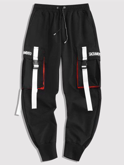 Letter Contrasting Strap Cargo Pants - Black L