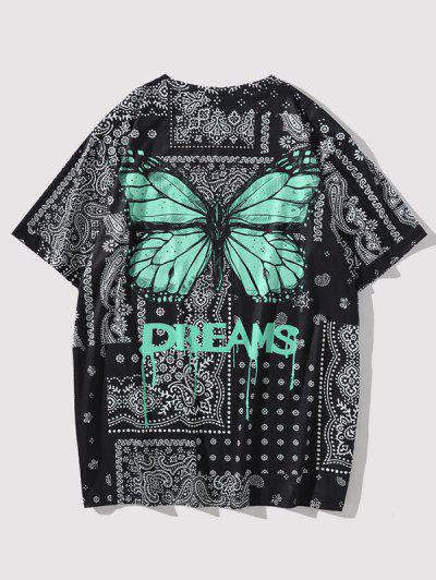 T-shirt Paisley Numérique à Fleurs Stéréo Avec Papillons Et Graphique - Noir M