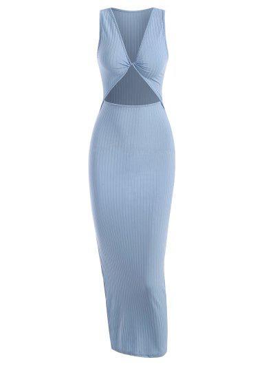 Rib-knit Twist Cutout Split Side Slinky Tank Dress - Light Blue S