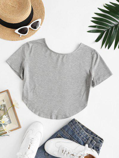 Basic Cropped Curved Hem Tee - Gray S