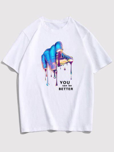 ZAFUL Hummingbird T-Shirt Mit Grafischen Buchstaben - Weiß S