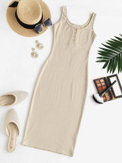 Rib-knit Half Button Slinky Bodycon Tank Dress - Light Coffee S