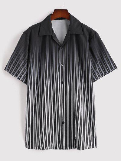 Ombre Stripe Short Sleeve Shirt - Black L