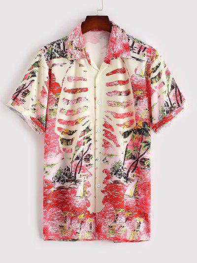 Tropical Leaf Palm Tree Hawaii Vacation Shirt - Red L
