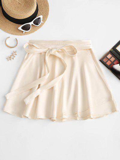 Silky Satin Swing Wrap Mini Skirt - Light Yellow