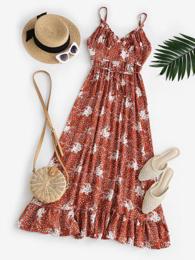 Spaghetti Strap Floral Ruffled Maxi Bustier Dress - Red M