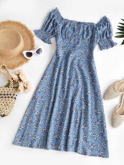 Robe Fleurie Fendue Poitrine Ourlet à Volants - Bleu M