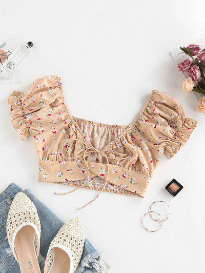 ZAFUL Ditsy Floral Puff Sleeve Tied Milkmaid Blouse - Light Coffee Xl