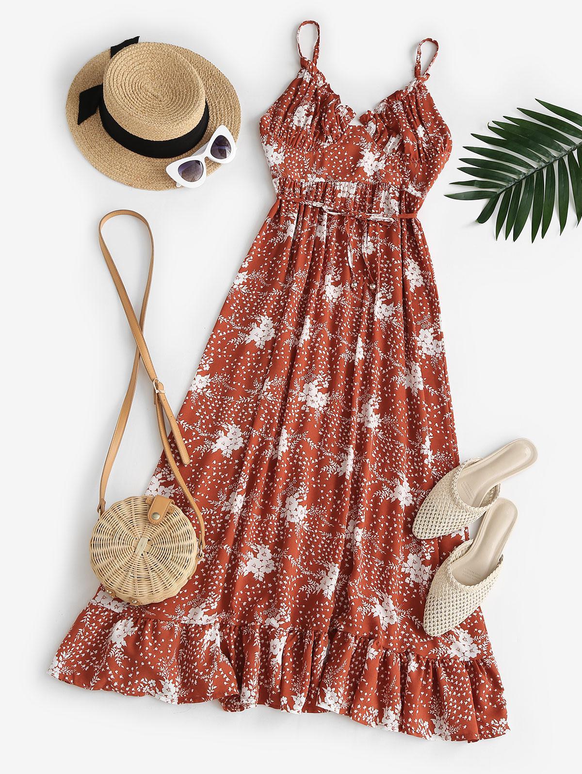 Spaghetti Strap Floral Ruffled Maxi Bustier Dress