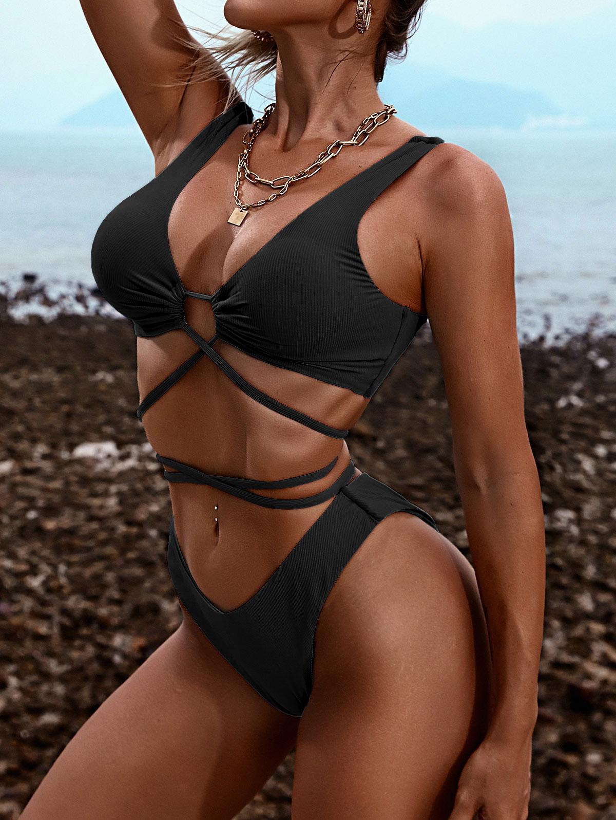 ZAFUL Tie-around High Cut Ribbed Bikini Swimwear