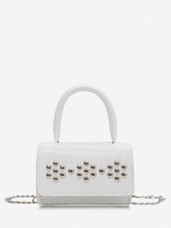 buy Rivet Embellished Embossed Chain Crossbody Bag - WHITE