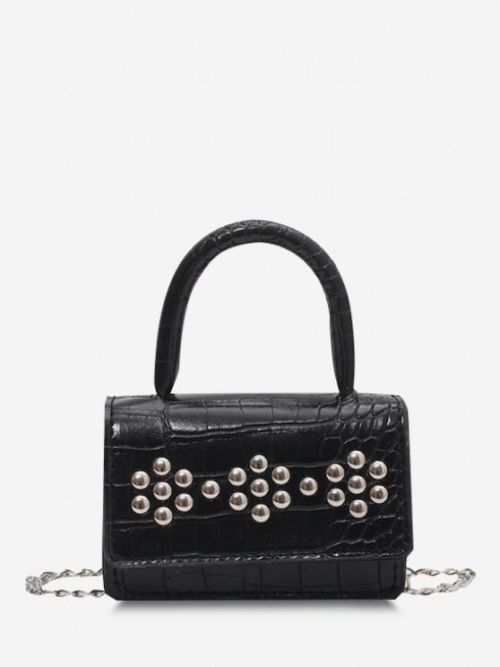 women's Rivet Embellished Embossed Chain Crossbody Bag - BLACK