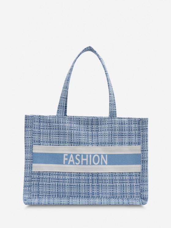 Letter Print Plaid Canvas Casual Tote Bag - البحر الأزرق