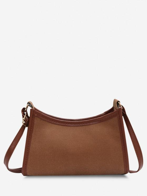 hot Frosted Texture Topstitching Binding Shoulder Bag - LIGHT BROWN