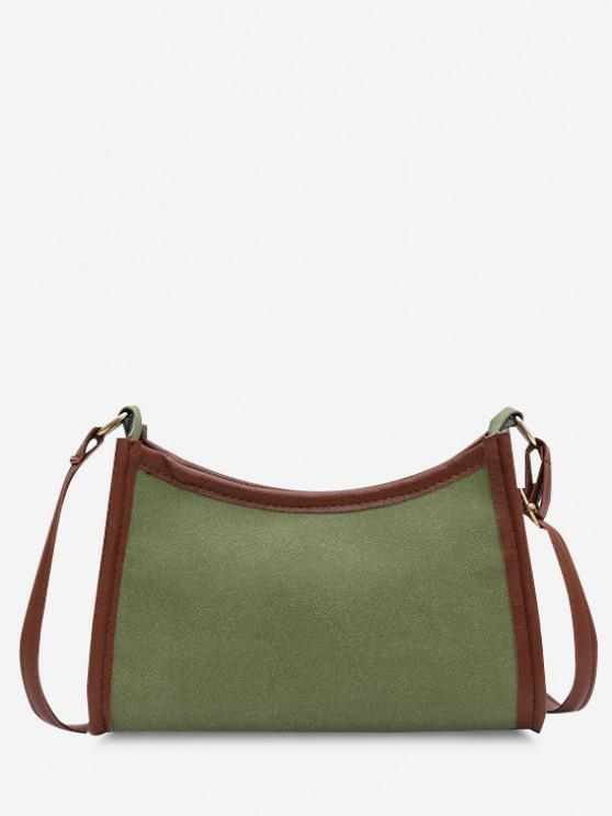 outfit Frosted Texture Topstitching Binding Shoulder Bag - DARK SEA GREEN