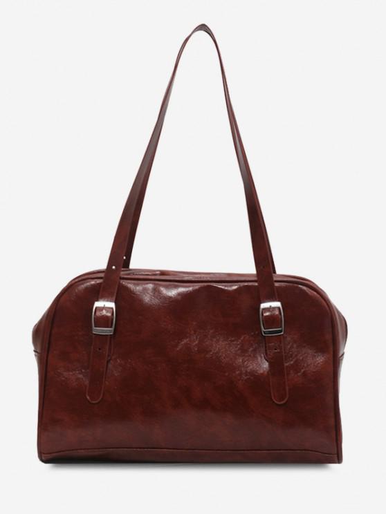 outfit Retro Buckles Solid Shoulder Bag - DEEP BROWN
