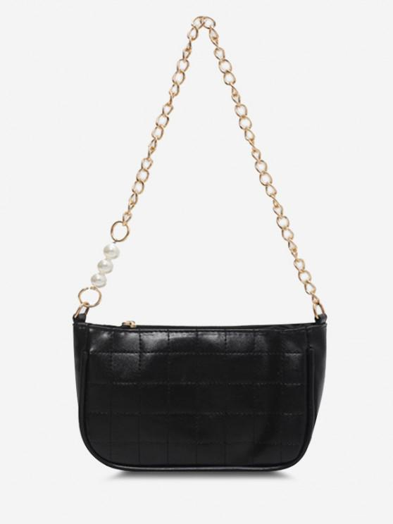 outfits Faux Pearl Chain Stitching Shoulder Bag - BLACK