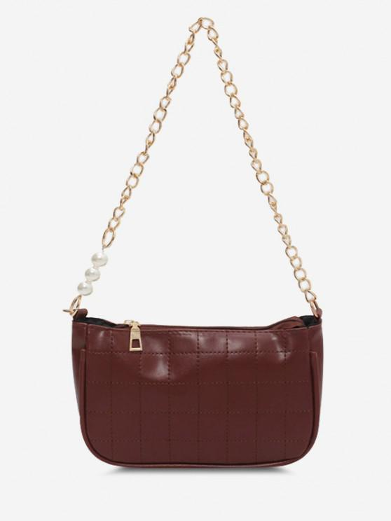shop Faux Pearl Chain Stitching Shoulder Bag - BROWN