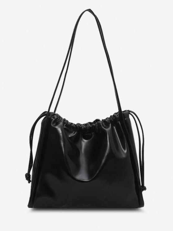 shops Solid Drawstring Shoulder Bag - BLACK