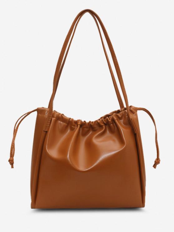 trendy Solid Drawstring Shoulder Bag - LIGHT BROWN
