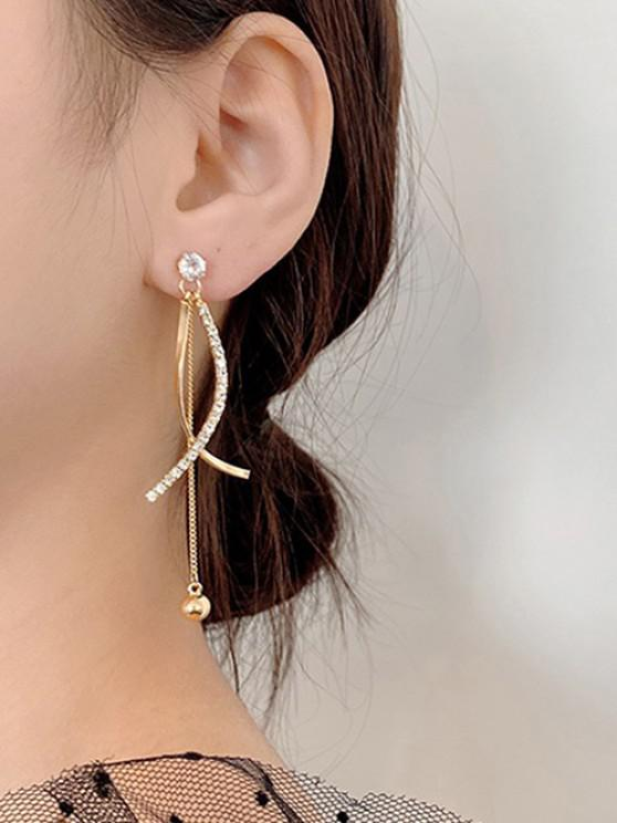 Rhinestone Embellished Crossed Golden Dangle Earrings - ذهبي