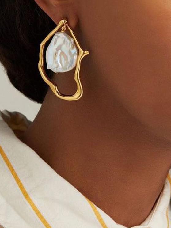 fancy Irregular Hammered Faux Pearl Stud Drop Earrings - GOLDEN