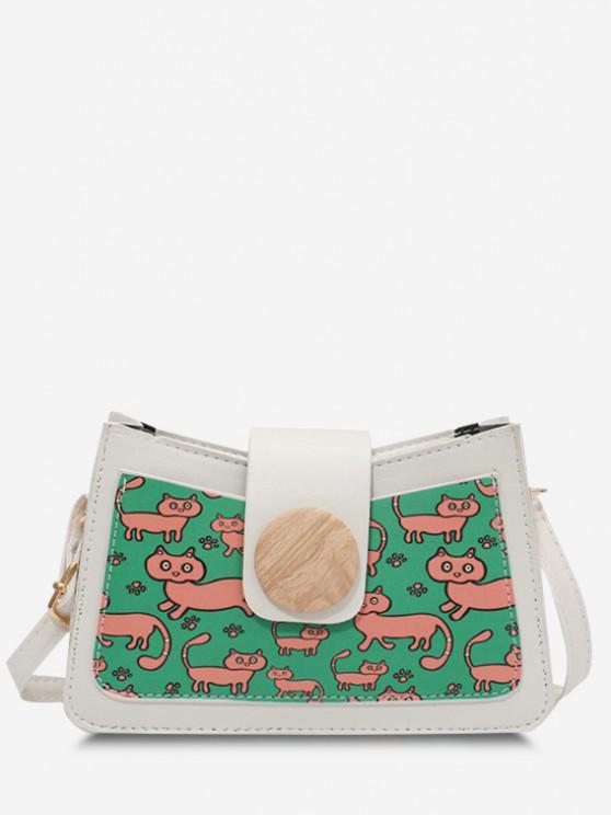 womens Cat Print Colorblock Round Button Shoulder Bag - WHITE
