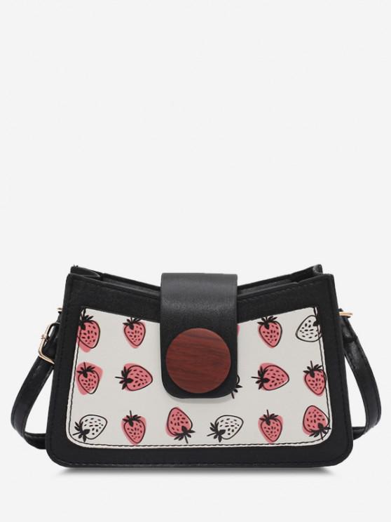 women's Strawberry Print Big Round Button Shoulder Bag - BLACK