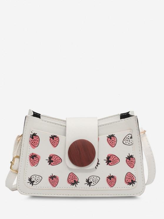 Strawberry Print Big Round Button Shoulder Bag - أبيض