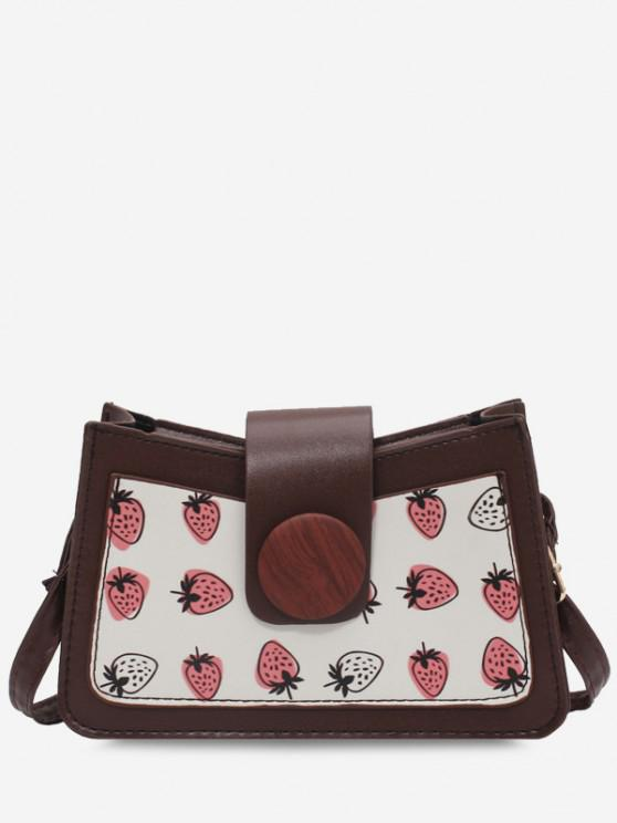 lady Strawberry Print Big Round Button Shoulder Bag - LIGHT COFFEE