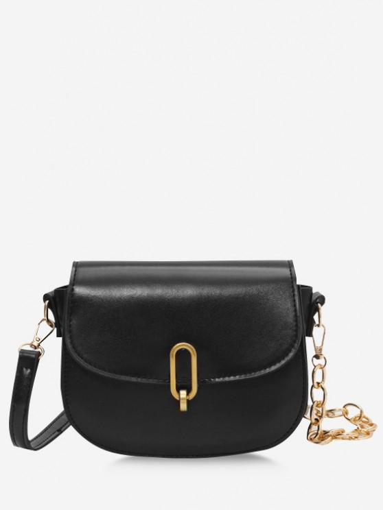 new Flap Half Chunky Chain Saddle Bag - BLACK