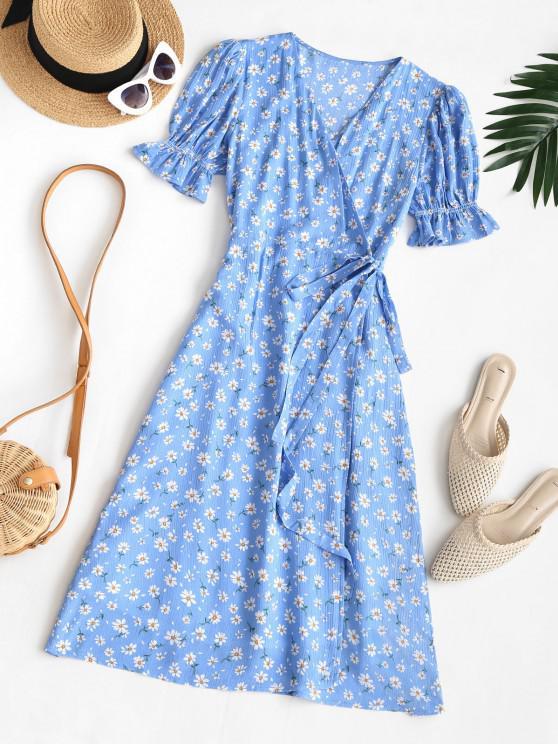 women Puff Sleeve Daisy Print Wrap Dress - BLUE M