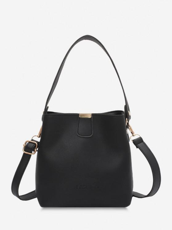 fashion Solid Letter Embossed Dual Handle Bucket Bag - BLACK