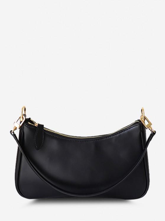 shops Minimalistic Double Strap Shoulder Bag - BLACK